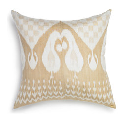 "Silk Ikat Pillow I - The woven textile is finished with our flax linen backing and closed by an invisible zipper with a gold pull. Our signature St. Frank plate is featured in the bottom right-hand corner of the pillow. The cushion is stuffed with an oversized down insert. The pillow dimensions are 26"" W x 26"" H."