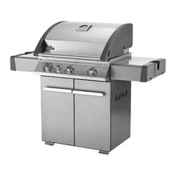 Napoleon - Napoleon LA300 Grill with Rear Burner Multicolor - LA300RBPSS - Shop for Grills from Hayneedle.com! Satisfy your hungriest barbeque guests with ease. The Napoleon LA300 Grill with Rear Burner in your choice of propane or gas fuel features 570 square inches of cooking space and three stainless steel tube burners. A ceramic infrared rotisserie burner will barbecue your favorites with true radiant heat leaving them juicy and tender. The side burner offers the perfect surface for faster searing and two side shelves with integrated beverage holders provide convenient prep surfaces. Proprietary special features make this premium stainless steel grill even better such as the ACCU-PROBE temperature gauge for oven-like performance JETFIRE ignition system that starts each burner individually or all at the same time and the WAVE cooking grids which are made of porcelain-covered cast iron for a no-stick long-lasting surface. i-GLOW backlit knobs make late night grilling safer and easier. A five-year limited warranty is included. Some assembly is required. Additional Information Warming rack surface: 165 sq. in. ACCU-PROBE temp gauge and JETFIRE ignition Includes a limited 5-year warranty Weight: 85 lbs.; assembly required About Napoleon Napoleon got its start in 1976 as a steel fabrication business launched by Wolfgang Schroeter in Barrie Ontario Canada. Solid cast iron two-door stoves became a single glass door model with Pyroceram high-temperature ceramic glass. In 1981 the name Napoleon was coined for their items. Over the years Napoleon has led the way with innovative engineering and design. They are now North America s largest privately owned manufacturer of quality wood and gas fireplaces gourmet gas and charcoal grills outdoor living products and heating and cooling products.