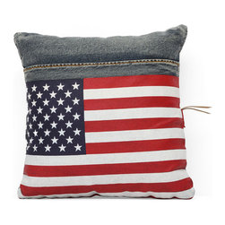 Cowboy Cushion, Blue Denim W/ USA Flag - Made from recycled denim fabric sewn into a whimsical design, the Cowboy cushion is a must for any room.