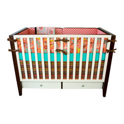 "Modified Tot - Baby Bedding Crib Set, Sweets - Coral and soft pink combine with key lime, aqua and brown to create a sweet space for baby girl. The three piece set includes bumpers with hand-stitched fabric ties and contrasting piping, a fitted sheet with elastic all the way around and a four-sided skirt with a 15"" drop. Bumpers are created in six separate pieces for easy transition to a toddler bed, they measure 1"" thick and 10"" high. All items are proudly made in the USA. All products are made to order."