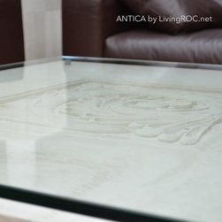 """MARBLE COFFEE TABLE 39""""x39""""x15"""" TRAVERTINE-ANTICA - Reference: CT215 - CT215GLASS"""