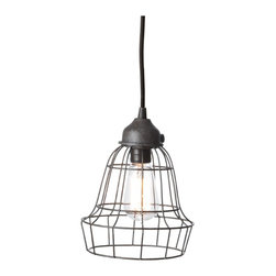 Lazy Susan - Lazy Susan 225032 Wire Barrel Pendant Light - You can embrace a new twist on the iconic lone bulb hanging from the ceiling, so often seen in suspenseful Hollywood films. This stylized wire, cage-like lamp, has an industrial chic aura. Pendant lighting perfect for loft or warehouse living, or to add a bit of edge to your otherwise cozy abode.