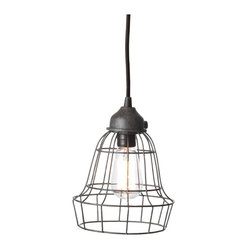 Lazy Susan - Wire Barrel Pendant Light - You can embrace a new twist on the iconic lone bulb hanging from the ceiling, so often seen in suspenseful Hollywood films. This stylized wire, cage-like lamp, has an industrial chic aura. Pendant lighting perfect for loft or warehouse living, or to add a bit of edge to your otherwise cozy abode.