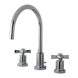 Kingston Brass - Kingston Brass Millennium Polished Chrome Widespread Lavatory Faucet KS8921ZX - This widespread lavatory faucet with its cylindrical base and  gooseneck spout  will work well with most contemporary d_cors, manufactured from solid brass this faucet features ceramic cartridge for long lasting performance.. Manufacturer: Kingston Brass. Model: KS8921ZX. UPC: 663370284212. Product Name: Kingston Brass Millennium Widespread Lavatory Faucet, Polished Chrome. Collection / Series: Millennium. Finish: Polished Chrome. Theme: Modern. Material: Brass. Type: Lavatory Faucet. Features: Max 2.2GPM/8.3LPM At 60 PSI