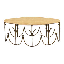 Kathy Kuo Home - Binoche French Hollywood Regency Antique Brass Marble Coffee Table - Evoking a meadow filled with French wildflowers, this elegant coffee table is both dramatic and delicate. Wrought iron finished in antique brass is twisted and coaxed into thin branches around the base. The uniquely shaped marble top, with tan, taupe and cream patterns, shimmers with style.
