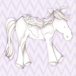 "Doodlefish - Princess Pony Lavender - Princess Pony is an 18"" x 18"" Gallery Wrapped Giclee Print that features a mix of graphical elements and a drawing of a pretty pony with a curly mane and tail.  Choose the background color and the background pattern to match your child's room,  Add your child's name or even your favorite pet.  This artwork is also available mounted in a painted frame of your choice.    The finished size of the mounted piece is approximately 22""x22""."