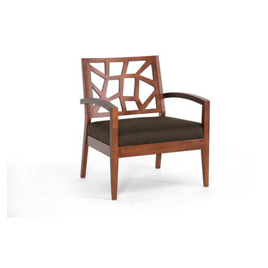 Baxton Studio - Baxton Studio Jennifer Dark Brown Wood Modern Lounge Chair with Fabric Seat - Evoking a combination of nature-inspired transitional and Danish modern furniture style, our Jennifer Lounge Chair makes the perfect accompaniment to your living room seating area. As far as living room accent chairs go, the Jennifer Chair is priced to sell and built to last: a solid Malaysian Oak wood frame with walnut-style veneer finish make this the perfect choice. Polyurethane foam cushioning topped with twill fabric upholstery in dark brown makes this your favorite place to sit and an extra-wide seat provides additional comfort. To clean, wipe with a damp cloth/spot clean. Made in Malaysia; assembly required. This chair is also available with a lighter brown seat (sold separately).