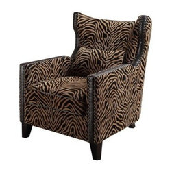 Armen Living Tiger Chenille Nail Head Accent Chair - Solid colors flower print and stripes are almost all you see on the furniture market and while it's a safe choice it's also boring. Liven up your decor with some furniture that has personality like the Armen Living Tiger Chenille Nailhead Accent Chair. This tiger chenille chair features antique nailhead accents and high density foam padding for a chair that not only grabs your attention but it's exceedingly comfortable as well. In addition to the padding this chair also features webbing support for an even more relaxing experience and a kiln-dried hardwood frame that's sturdy enough to serve your home well for years and years to come. About Armen LivingImagine furniture without limits - youthful robust refined exuding self-expression at every angle. These are the tenets Armen Living's designers abide by when creating their modern furniture collections. Building on more than 30 years of industry experience Armen Living combines functional versatility and expert craftsmanship into their dramatic furniture styles all offered at price points fit for discriminating budgets. Product categories include bar stools club chairs dining tables ottomans sofas and more. Armen Living is based in Sun Valley Calif.