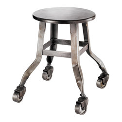 Rolling Metal Stool - Wheely fun! I love anything with wheels because they just add an extra layer of coolness.