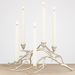 Silver Twig Taper Candle Centerpiece - The Silver Twig Taper centerpiece from World Market has an outdoorsy effect, but it's less rustic one due to its elegant silver finish and tapered candles.