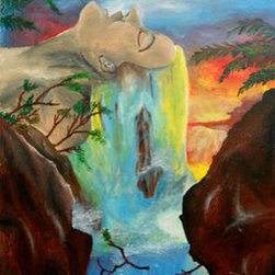 Waterfall Woman (Original) By Kayla Domaszek - Acrylic on board canvas, this marvelous and colorful pieces brings a human side to the beauty of mother nature.  The colors of the sunset reveal the capacity the beauty of the water.  This piece was created in an art class at a high school.