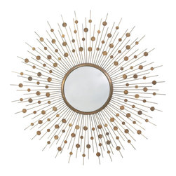 Orion Vintage Brass Large Convex Mirror - Glamorous and subtly bejeweled with an array of brushed-metal sundrops, the Orion Convex Mirror in Vintage Brass brings a warm, rich glow to your wallscape. This round wall mirror is surrounded in a halo of slender rays adorned by floating disks of metal in the exquisite antiqued color that gives a sense of authenticity and underlying vigor to interiors with multiple inspirations and palettes.