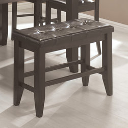 Coaster - Dining Bench in Cappuccino - Cappuccino finished casual counter height set is crafted from select hardwoods and oak veneers. Chairs and bench are upholstered in a durable dark brown leather-like vinyl.