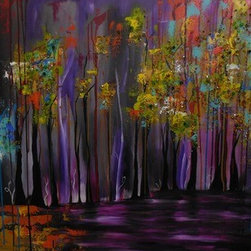 Lake (Original) by Dania Olivares - I was imagine a lake, with trees. When I first star painting, I didm;t have money to spend in colors, so to make paintings more attractive I start using recycle things that I found in my house. My necklaces, for example. And believe me, people actually like that. That's why I put on the paintings, crystals or beads in some of them. This one has them. Like shinny 3D leaves.