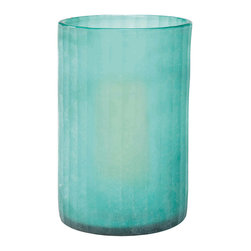 Jamie Young - Jamie Young Sea Glass Hurricane with candle - In a shade of aqua that brings to mind the color of the Caribbean Ocean, this sea glass hurricane by Jamie Young makes a striking accent on a mantle or side table. Sea glass; Includes unscented candle; Not food safe.