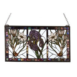 Meyda Tiffany - Meyda Tiffany Spring Triptych Stained Glass Tiffany Window X-81832 - Muted tones play tribute to Victorian inspired charm on this Meyda Tiffany stained glass Tiffany window. From the Spring Triptych Collection, this elegant design blends bouquets of flowers with dark shades of purple, green and off white. Dark toned trim and three panels add a traditional finishing touch.
