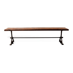 Kathy Kuo Home - Bartley Industrial Reclaimed Wood Cast Iron Dining Bench - L - Take a moment to daydream while perched on this bench, and you might just find yourself at a crowded biergarten in Munich. With reclaimed cast iron legs and a dark-stained reclaimed wood top, this bench would be just as at home in a European beer hall as it would in your dining area. Durable materials that tell stories of times past find their way this gorgeous dining bench, the perfect compliment to any number of industrial dining tables. Regardless of which option you choose, you'll be sitting pretty with this industrial gem of a piece. Enjoy a one year warranty on this piece.