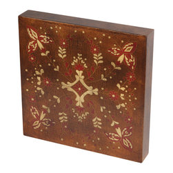 Brandi Renee Designs - Copper & Red Floral Design Handpainted Wall Art, Wood Tile - This copper and red hand painted floral wall tile is a beautiful addition to any wall grouping.