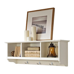 Crosley - Brennan Entryway Storage Shelf in White - The Brennan Wall unit will bring sophistication and function to your entryway. Features open shelves for storing hats and the like. Four hooks are perfect for hanging a family of coats and jackets. Well suited for a number of decors and available in three finishes.