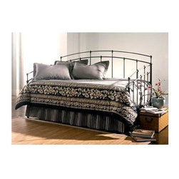 Leggett/Platt Fashion Bed - Fenton Daybed in Black Walnut Finish (w/o Lin - Choose Type: w/o Link SpringClean lines and a simple design that takes its design cues from classic architectural styles give this contemporary daybed a sophisticated look that will easily enhance your home's decor. Finished in black walnut, the bed is crafted of metal with slender spindles and a gently arched back. Clean lines of the Fenton are reminiscent of great architectural styles of the past. Back panel of the daybed has curved shape, straight lines and ball castings, with the arms mirroring the shape of the back as well. Multi-step process consisting of a base of mocha brown brushed with black antiquing covered in a clear lacquer makes the Fenton daybed a neutral backdrop for any designer's imagination. Fenton nightstand, mirror and bench can be purchased separately. Made of metal. Black Walnut finish. 39.25 in. W x 79.25 in. D x 43.75 in. H (68 lbs.)