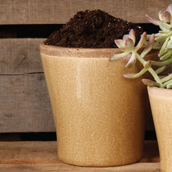 Medium Yellow Ceramic Mulberry Cachepot - HomArt's Mulberry Ceramic collection comprises cylindrical and rectangular vases, tabletop planters, cachepots, bowls, and rectangular and round trays all in various sizes and available in four designer colors-espresso, teal, yellow, and white.