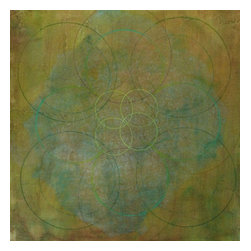 """Wax Linear: Green"" Artwork - Luscious acrylic glazes set a linear pattern hovering. This subtle artwork will give a warm green focus to any room. Acrylic, tissue paper, color pencil, pencil on Rives BFK and signed by the artist."
