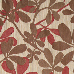 Brown, Beige and Red, Abstract Leaves Contemporary Upholstery Fabric By The Yard - This contemporary upholstery jacquard fabric is great for all indoor uses. This material is uniquely designed and durable. If you want your furniture to be vibrant, this is the perfect fabric!