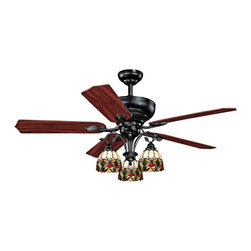 """Vaxcel - 52"""" Vaxcel French Country Oil Shale Ceiling Fan - With an oil shale finish and Tiffany style integrated light, the Vaxcel French Country ceiling fan is an elegant choice for your home decor. The Vaxcel French Country ceiling fan features an oil shale finish motor and five reversible rosewood/walnut finish blades. A trio of Tiffany style lights creates gentle illumination. With rich hues and ornate details, this stylish ceiling fan brings warmth to traditional style spaces."""