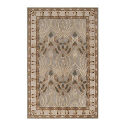 Surya - Surya Mentone Rug X-85-0007OTM - The Mentone Collection is a classic Arts and Crafts design inspired by folk eras. As defined by the period the style of this collection uses simple forms in its pattern. Against a neutral or bold background the colors of the hand tufted design come to life. The expert craftsmanship of this collection makes the natural motif appear almost real. Made in India from 100% New Zealand wool, these pieces are durable and easy to clean.