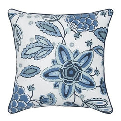 Home Decorators Collection - Fresh Air Decorative Pillow - Augment your bedroom decorating concept with a cluster of Fresh Air Decorative Pillows. Available in two complementary styles in a winsome blue palette, this pillow coordinates with our other Fresh Air bed linens. Choose from intricate florals or bold two-tone, or try both to maximize visual interest. Floral pillow is 100% cotton with a vintage-look weave and printed design. Striped pillow is 100% cotton with white appliqué strips. Poly insert. Machine washable.