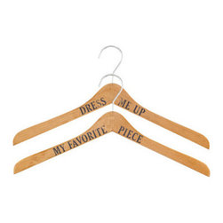 2 Pack Hangers, Wood - Make the closet a little more fun with these adorable wooden hangers. I'm sure your clothes will have plenty to talk about.