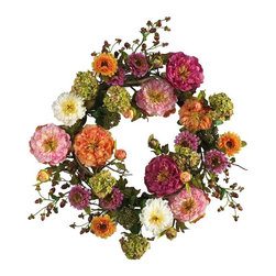 """24"""" Mixed Peony Wreath - Looking for the perfect focal point to spruce up your front door or entryway? At 24 inches round, this lush peony wreath demands attention. A mixture of bright and cream colored pastels, this elegant creation brings flair to any space it graces. Rich foliage surrounded by authentic crafted stems and a sprinkle of berries add further compliment to this masterpiece of nature. Height= 24 in Round x Width= 24 in Round x Depth= 8 in"""