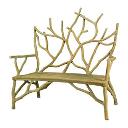 Currey and Company - Currey and Company Elwynn Contemporary/Modern Bench - A captivating faux bois bench appears to be a rooted, sprouting tree, growing up from the ground. This heavy concrete bench makes a fantastic edition to a garden or other outdoor/indoor space. The small Elwyn Bench looks fantastic with the large Elwyn Bench and Elwyn Chair.