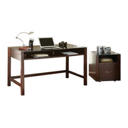 "Steve Silver Furniture - Steve Silver Lamar Writing Desk with File Cabinet in Espresso - The sleek, minimalist look of the Lamar Collection is highly versatile, complementing a variety of modern decor styles. The Lamar desk stands 30"" high with a striking 28"" x 30"" glass surface, and a spacious storage shelf. Pairs perfectly with the Lamar file cabinet."