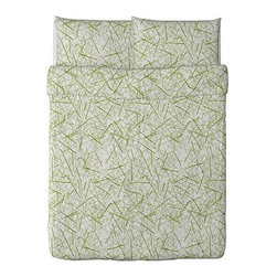 Julia Bernholtz - GRÖNKULLA Duvet cover and pillowcase(s) - Duvet cover and pillowcase(s), white/green