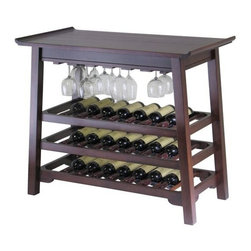 Deluxe Comfort - Chinois Console Wine Sofa Table - A handsome place to store and serve favorite vintages,