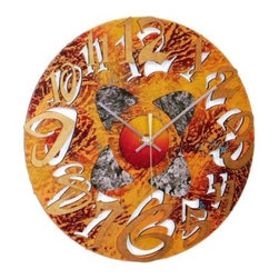 David Scherer 12 in. Orange Mod Disk Wall Clock - Time flies when it looks as wonderfully wild as the David Scherer 12 in. Orange Mod Disk Wall Clock. Made of metal, this clock is brimming with contemporary flair thanks to the multi-hued orange finish. Plus, the double-layered cutout numbers won't just draw the eye - they'll downright turn heads. Requires one AA battery (not included).About David Scherer David Scherer is an American artist who works in a variety of mediums, bringing an intriguing, distinctive style and vibrancy to all of his three-dimensional works of art. Well-known for his 3-D paintings, Scherer's pioneering focus and innovative techniques fuse an explosion of textures and colors that ignite energy that is evident in every creation. Scherer attributes his unique direction to his cumulative experience of more than 30 years as an artist.