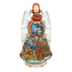 """Artistic Wood Carved Noah's Ark Angel Sculpture - Measures 14""""H x 7.5""""L x 4""""W and weighs 5 lbs. G. DeBrekht fine art traditional, vintage style sculpted figures are delightful and imaginative. Each figurine is artistically hand painted with detailed scenes including classic Christmas art, winter wonderlands and the true meaning of Christmas, nativity art. In the spirit of giving G. DeBrekht holiday decor makes beautiful collectible Christmas and holiday gifts to share with loved ones. Every G. DeBrekht holiday decoration is an original work of art sure to be cherished as a family tradition and treasured by future generations. Some items may have slight variations of the decoration on the decor due to the hand painted nature of the product. Decorating your home for Christmas is a special time for families. With G. DeBrekht holiday home decor and decorations you can choose your style and create a true holiday gallery of art for your family to enjoy. All Masterpiece and Signature Masterpiece woodcarvings are individually hand numbered. The old world classic art details on the freehand painted sculptures include animals, nature, winter scenes, Santa Claus, nativity and more inspired by an old Russian art technique using painting mediums of watercolor, acrylic and oil combinations in the G. Debrekht unique painting style. Linden wood, which is light in color is used to carve these masterpieces. The wood varies slightly in color."""
