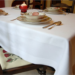 None - White Satin Band Egyptian Cotton 54x54-inch Tablecloth - Add a touch of elegance to your dining room table with this sophisticated cotton tablecloth that features a wide satin band along the edge. This machine-washable tablecloth is made of fine Egyptian cotton, so it has a soft consistent texture.