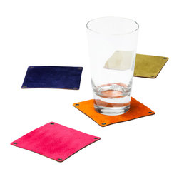 Working Class Studio - Elyse Collection Coaster, Assorted, Set of 4 - Even if you love a little rustic-chic style, water rings aren't exactly a part of your decor scheme. Never fear: These handsome leather coasters will fit right in and keep your tabletops looking clean. The durable, oil-tanned leather is accented with gunmetal grommets at the corners and features a reverse suede lining.
