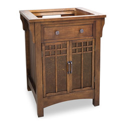 "Hardware Resources - Lyn Design VAN037 - This 26-1/2"" wide solid wood vanity is inspired classic by Frank Lloyd Wright designs from the Arts & Crafts era. The rich chestnut finish is complemented by the amber-colored mica glass inserts in the cabinet doors. The narrow design fits easily into most spaces and a large cabinet provides ample storage. 2.5CM black granite top is available while quantities last, cut for an H8810 (17"" x 14"") bowl and 8"" faucet spread. Overall Measurements: 26-1/2"" x 22-3/4"" x 34"" (measurements taken from the widest point)"