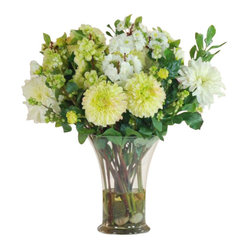 Winward - Day Lily/Delphinium Centerpc Flower Arrangement - A mixed bouquet of chic flowers is the ultimate centerpiece for a dining room or entryway, but making it to the florist or farmer's market each week can be a hassle. Invest in a high-end permanent bouquet and you'll have year-round beauty without ever having to change the water or trim the stems.