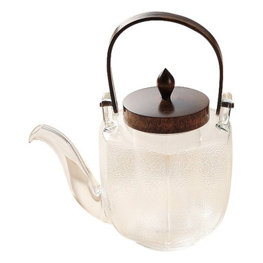 Japanese Glassware Tea Pot Chirori Hexagon, Silver - Our finest glassware tea pot made by the Japanese craftsmen at Hirota in Japan.  The glass is heat-resistant, so it's perfect for making tea but could also be used to serve cold drinks, traditionally in Japan they use it for sake.