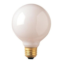 Bulbrite - Globe E26 Base Light Bulbs in White - 24 Bulb - Choose Wattage: 25wOne pack of 24 Bulbs. G25 incandescent type bulb. Medium base bulb. Dimmable. EISA compliant. Voltage: 130 V. Average hours: 3000. Color rendering index: 100. Beam spread: 360 degree. Color temperature: 2700K. Ideal for use in vanity, pendants and down lights. 25 watt lumens: 160. 40 watt lumens: 290. 60 watt lumens: 560. 100 watt lumens: 975. 3.13 in. Dia. x 4.38 in. H