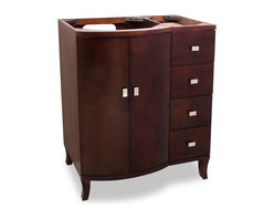 Hardware Resources - Lyn Design VAN067 Wood Vanity, Without Top - When you're getting ready in your bathroom, you won't be the only good-looking thing standing there. This striking vanity dons an attractive brown hue and sports gleaming accents to finish out its look.