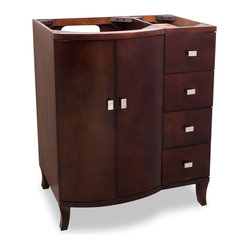 Hardware Resources - Lyn Design VAN067 Wood Vanity - When you're getting ready in your bathroom, you won't be the only good-looking thing standing there. This striking vanity dons an attractive brown hue and sports gleaming accents to finish out its look.