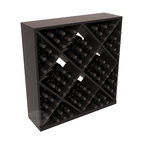 Solid Diamond Wine Storage Cube in Redwood with Black Stain + Satin Finish - Elegant diamond bin style bottle openings make for simple loading of your favorite wines. This solid wooden wine cube is a perfect alternative to column-style racking kits. Double your storage capacity with back-to-back units without requiring more access area. We build this rack to our industry leading standards and your satisfaction is guaranteed.