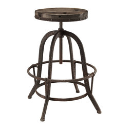 Collect Wood Top Bar Stool - Place yourself on the pedestal of experience. Collect is an envisioned industrial modern counter stool that secures bygone moments into a calming version of the present. Constructed of solid pine wood and a cast iron stand with footring, gather together your experiences and enthusiasm in this piece that spans the ages.