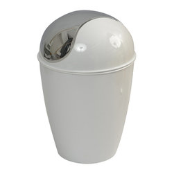Pp Waste Basket 4.5-Liter/1.2-Gal - White - This waste basket for bathrooms is made of shiny polypropylene and features a convenient chrome plated finish swing top lid. This versatile flaring shape waste basket brings style to your bathroom and fits easily in any bathroom or under any desk with its capacity of 4.5-Liter/1.2-Gal. Diameter of 8.27-Inch and height of 13.39-Inch. Clean with soapy water. Color shiny white. Keep your bathroom clean in a trendy style with this attractive waste basket! Complete your decoration with other products of the same collection. Imported.