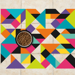 Sniff It Out Designer Pet Mats - MidCentury Triangle Pet Food Mat, Small - Premium-quality clear vinyl mats uniquely designed to resemble beautiful art painted directly onto your floor. The smoothness of the vinyl allows for easy cleanup and lays perfectly flat. Sniff It Out Pet Mats make great gifts and will be a conversation piece that your friends and family won't stop talking about. Made in the USA.